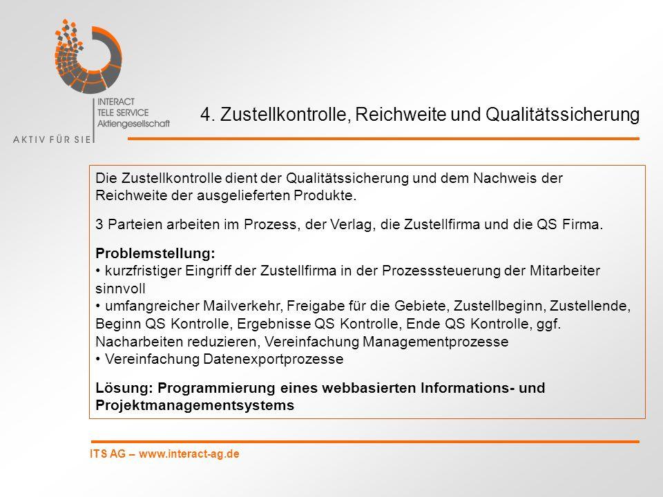 ITS AG – www.interact-ag.de 4. Zustellkontrolle, Reichweite und Qualitätssicherung Die Zustellkontrolle dient der Qualitätssicherung und dem Nachweis