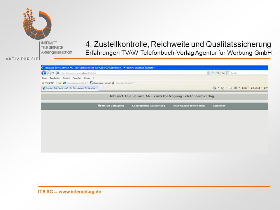ITS AG – www.interact-ag.de 4. Zustellkontrolle, Reichweite und Qualitätssicherung Erfahrungen TVAW Telefonbuch-Verlag Agentur für Werbung GmbH