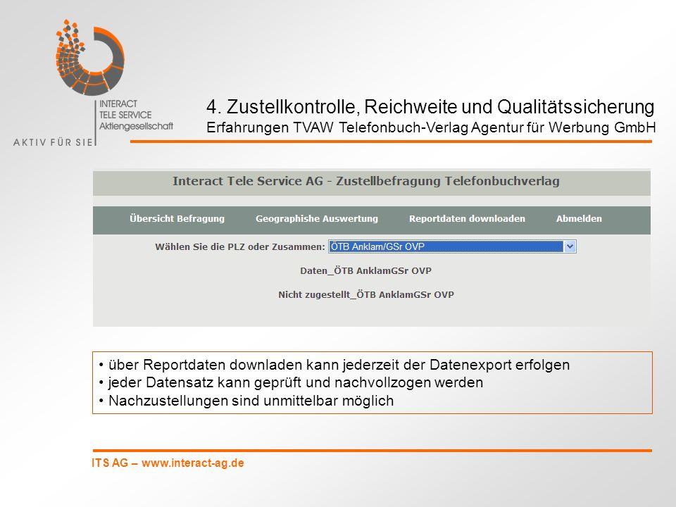 ITS AG – www.interact-ag.de über Reportdaten downladen kann jederzeit der Datenexport erfolgen jeder Datensatz kann geprüft und nachvollzogen werden N