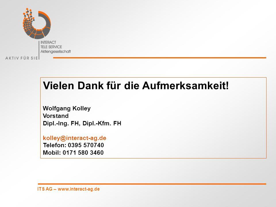 ITS AG – www.interact-ag.de Vielen Dank für die Aufmerksamkeit! Wolfgang Kolley Vorstand Dipl.-Ing. FH, Dipl.-Kfm. FH kolley@interact-ag.de Telefon: 0