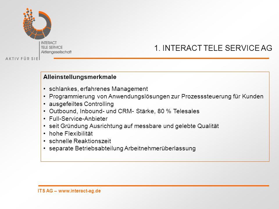 ITS AG – www.interact-ag.de die Übersichts- statistik kann entsprechend der Aufgabenstellung frei zusammengestellt werden sie enthält die Anrufstatistik und die Datenstatistik 4.