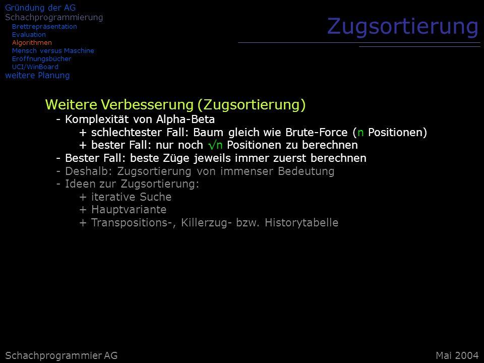 Schachprogrammier AG Zugsortierung Weitere Verbesserung (Zugsortierung) - Komplexität von Alpha-Beta + schlechtester Fall: Baum gleich wie Brute-Force