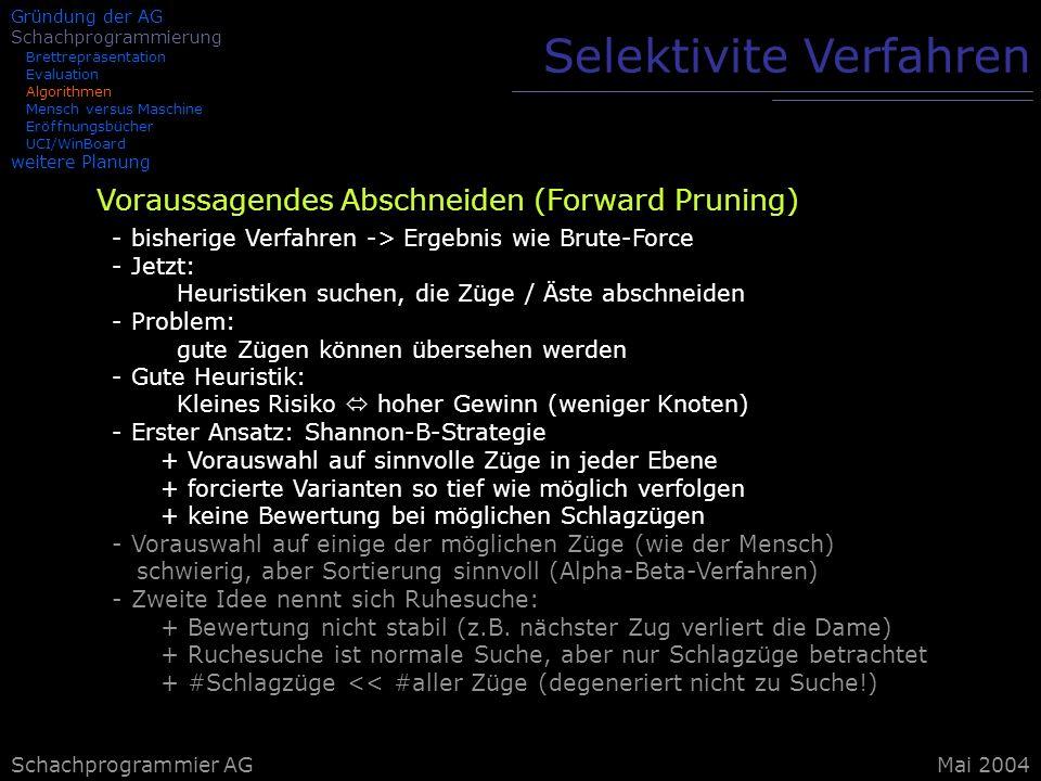 Schachprogrammier AG Selektivite Verfahren Voraussagendes Abschneiden (Forward Pruning) - bisherige Verfahren -> Ergebnis wie Brute-Force - Jetzt: Heu