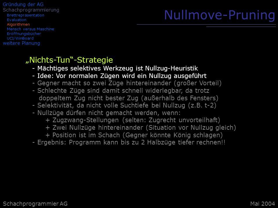Schachprogrammier AG Nullmove-Pruning Nichts-Tun-Strategie - Mächtiges selektives Werkzeug ist Nullzug-Heuristik - Idee: Vor normalen Zügen wird ein N
