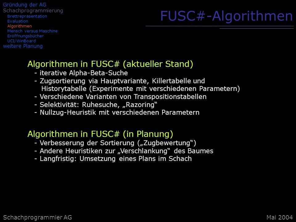 Schachprogrammier AG FUSC#-Algorithmen Algorithmen in FUSC# (aktueller Stand) - iterative Alpha-Beta-Suche - Zugsortierung via Hauptvariante, Killerta