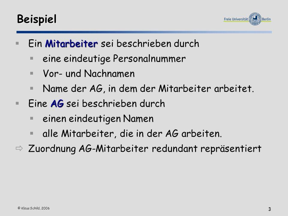 © Klaus Schild, 2006 3 Beispiel Mitarbeiter Ein Mitarbeiter sei beschrieben durch eine eindeutige Personalnummer Vor- und Nachnamen Name der AG, in dem der Mitarbeiter arbeitet.