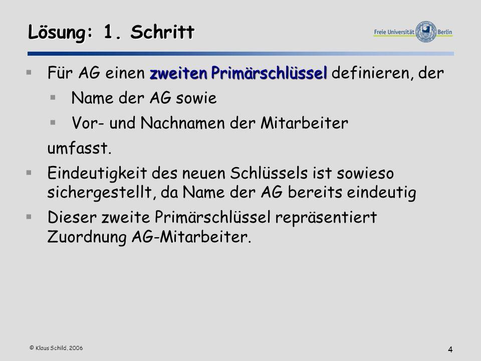 © Klaus Schild, 2006 4 Lösung: 1. Schritt zweiten Primärschlüssel Für AG einen zweiten Primärschlüssel definieren, der Name der AG sowie Vor- und Nach