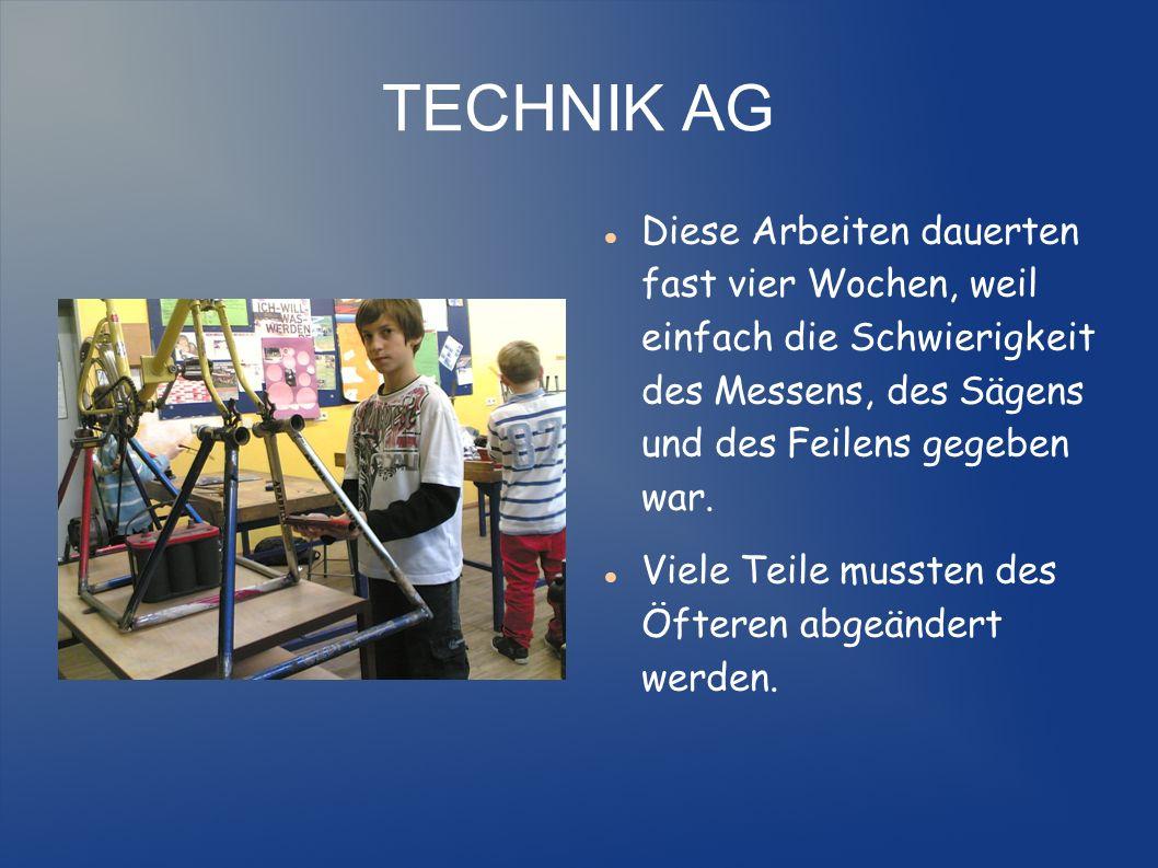 TECHNIK AG Im Dezember liefen die Vorbereitungen für den Probelauf des Stromerzeugers Fahrrad zum Tag der offenen Tür als unbehandelter Rohling.