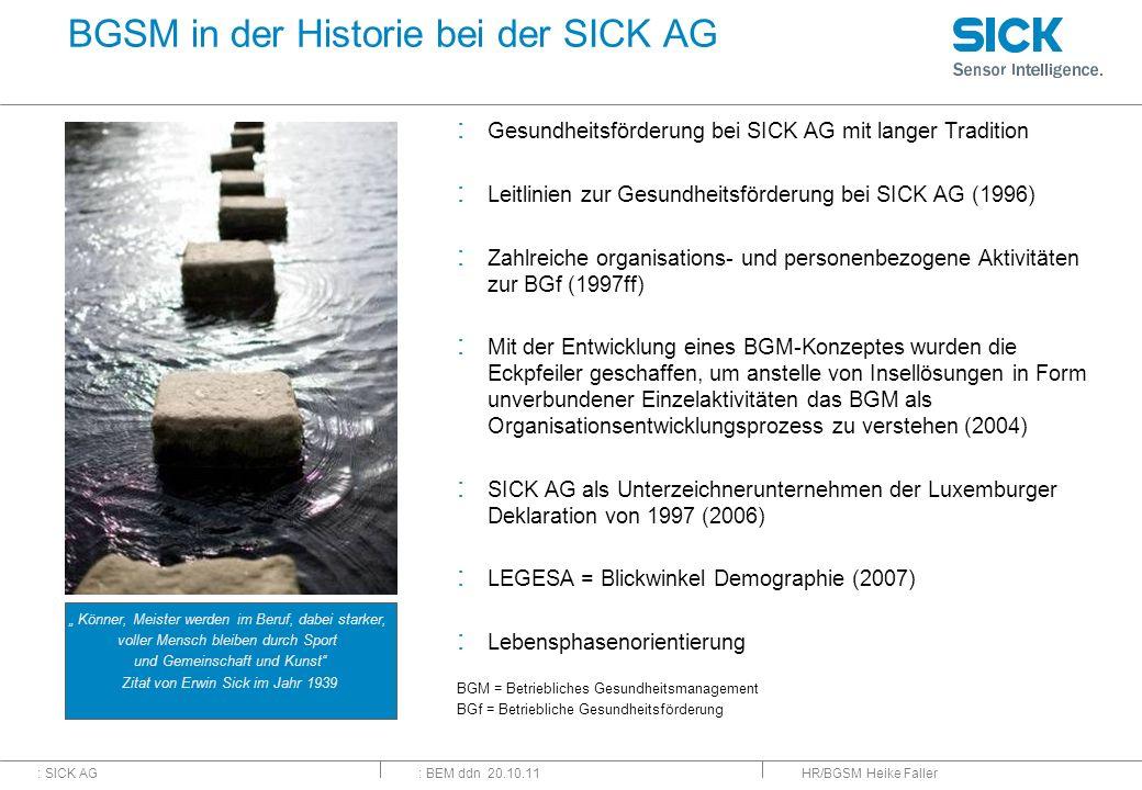 : SICK AG: BEM ddn 20.10.11 BGSM in der Historie bei der SICK AG : Gesundheitsförderung bei SICK AG mit langer Tradition : Leitlinien zur Gesundheitsf
