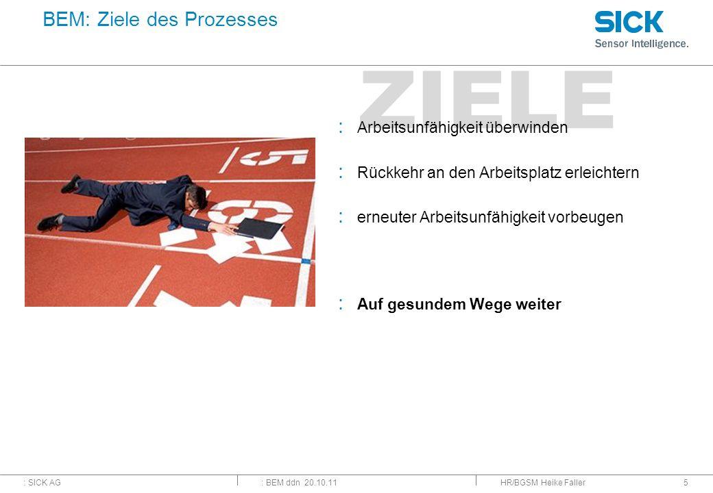 : SICK AG: BEM ddn 20.10.11 ZIELE HR/BGSM Heike Faller5 BEM: Ziele des Prozesses : Arbeitsunfähigkeit überwinden : Rückkehr an den Arbeitsplatz erleic