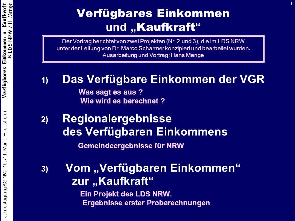 Verfügbares Einkommen u. Kaufkraft © LDS NRW / H. Menge Jahrestagung AG NW, 10. /11. Mai in Hildesheim 1 Verfügbares Einkommen und Kaufkraft 1) Das Ve