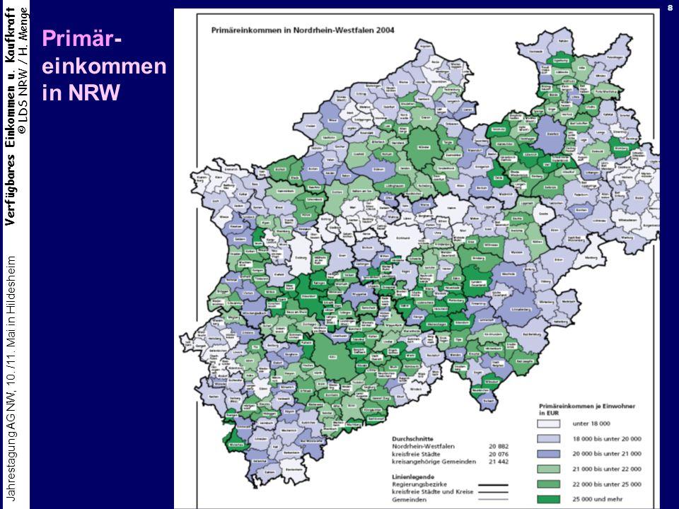Verfügbares Einkommen u. Kaufkraft © LDS NRW / H. Menge Jahrestagung AG NW, 10. /11. Mai in Hildesheim 8 Primär- einkommen in NRW