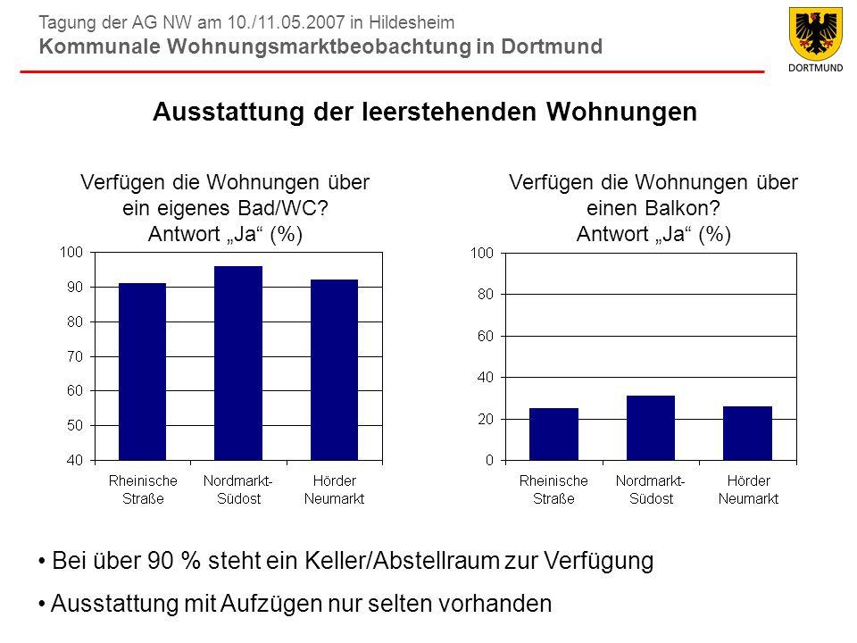 Tagung der AG NW am 10./11.05.2007 in Hildesheim Kommunale Wohnungsmarktbeobachtung in Dortmund Ausstattung der leerstehenden Wohnungen Verfügen die W