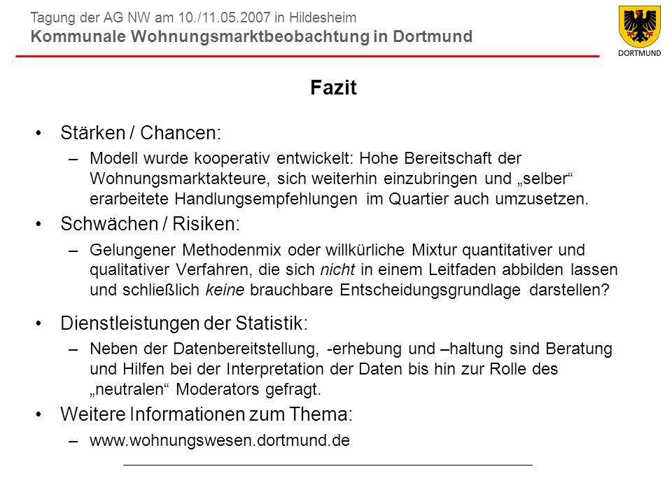 Tagung der AG NW am 10./11.05.2007 in Hildesheim Kommunale Wohnungsmarktbeobachtung in Dortmund Fazit Stärken / Chancen: –Modell wurde kooperativ entw