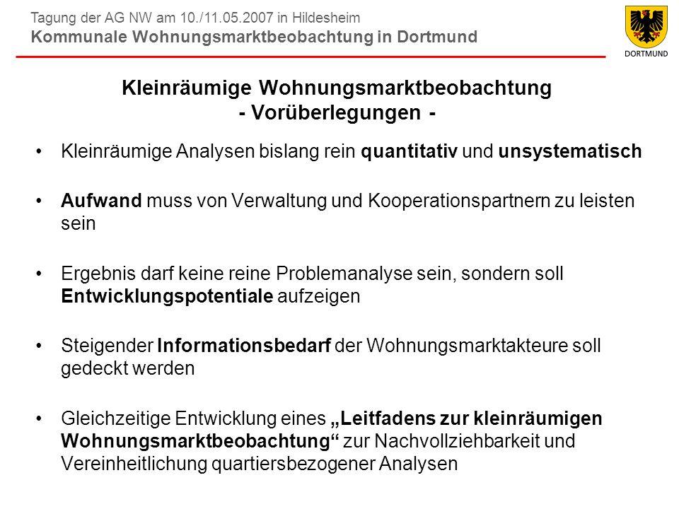 Tagung der AG NW am 10./11.05.2007 in Hildesheim Kommunale Wohnungsmarktbeobachtung in Dortmund Wohnumfeldbezogene Leerstandsgründe Antwortmöglichkeiten trifft voll zu und trifft eher zu (%) 32 % nutzen offene Abschlussfrage für weitere Kommentare – drei Viertel davon thematisieren Probleme des Wohnumfelds
