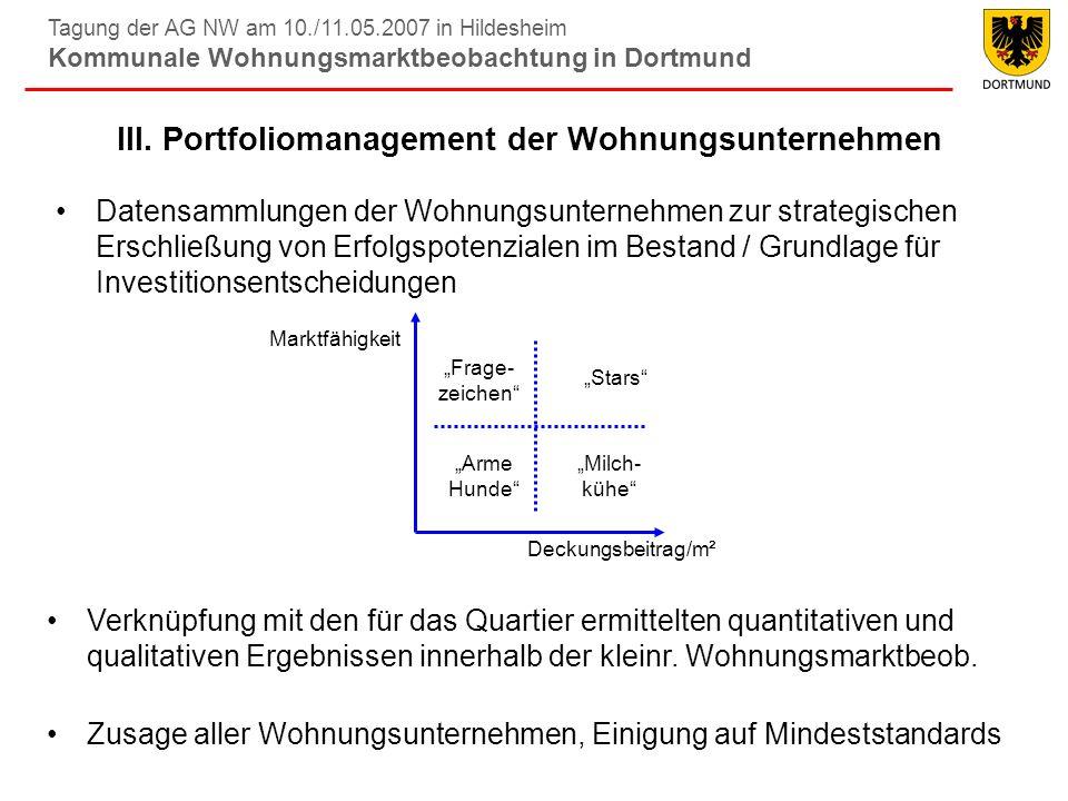Tagung der AG NW am 10./11.05.2007 in Hildesheim Kommunale Wohnungsmarktbeobachtung in Dortmund III. Portfoliomanagement der Wohnungsunternehmen Daten