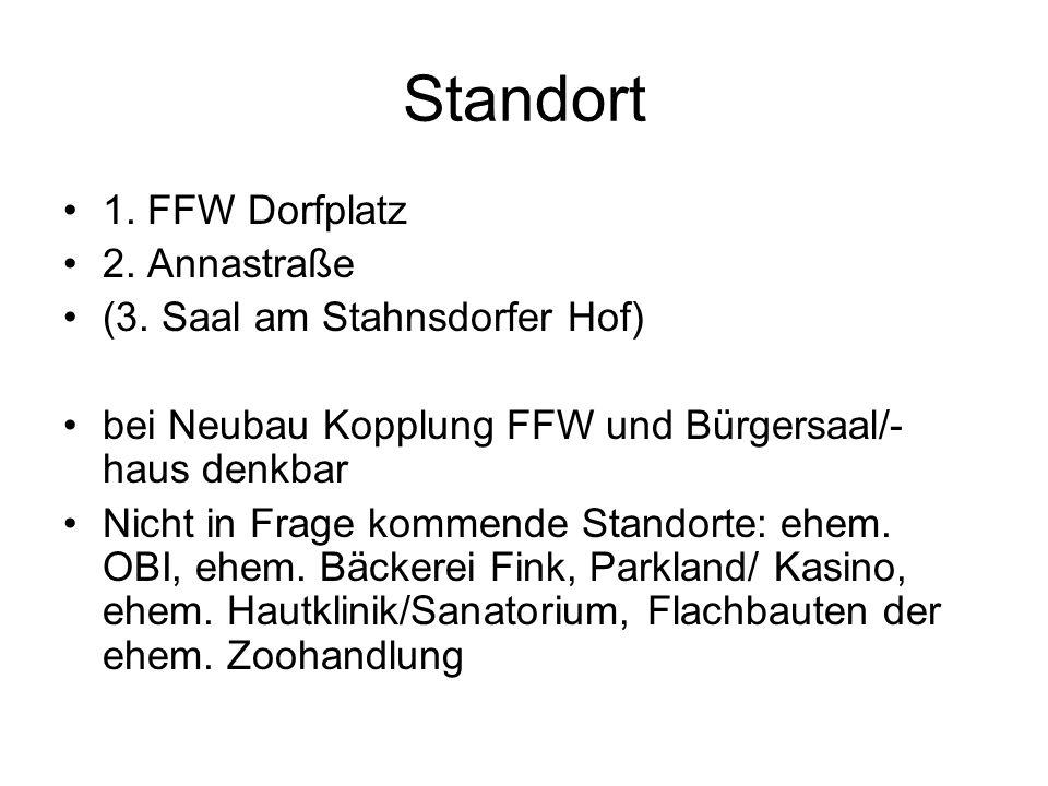 Standort 1. FFW Dorfplatz 2. Annastraße (3. Saal am Stahnsdorfer Hof) bei Neubau Kopplung FFW und Bürgersaal/- haus denkbar Nicht in Frage kommende St