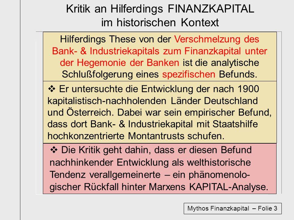 Deutschland AG 1996 – über die ökonomischen Grundlagen der Legende vom Finanzkapital Ausgangspunkt sind drei Formen von Kapital- beteiligungen der Bank- & Industriekapitale: Verflechtung der Finanzkapitale Verflechtung der Industriekapitale Beteiligung der Finanz- an Industriekapitalen Sehr weit fortgeschritten ist der Grad der Verflechtung der privaten Finanzkapitale Überbleibsel aus Zeiten der Schwerindustrie starke Verflechtung von Industriekapitalen Die These des Finanzkapitals zielt ab auf die: Beteiligung der Finanz- an Industriekapitalen Bis 2000 hielt das deutsche Banken- & Ver- sicherungskapital direkt große Kapitalbeteili- gungen an den 100 größten Industriekapitalen.
