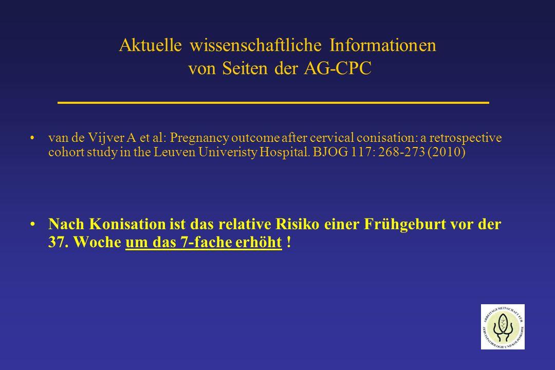 Aktuelle wissenschaftliche Informationen von Seiten der AG-CPC Ortoft et al: After conisation of the cervix, the perinatal mortality due to preterm delivery increases in subsequent pregnancy.