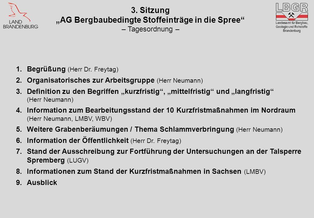 3. Sitzung AG Bergbaubedingte Stoffeinträge in die Spree – Tagesordnung – 1.Begrüßung (Herr Dr. Freytag) 2.Organisatorisches zur Arbeitsgruppe (Herr N