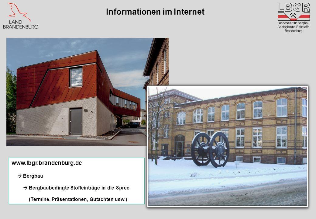 Informationen im Internet www.lbgr.brandenburg.de Bergbau Bergbaubedingte Stoffeinträge in die Spree (Termine, Präsentationen, Gutachten usw.)