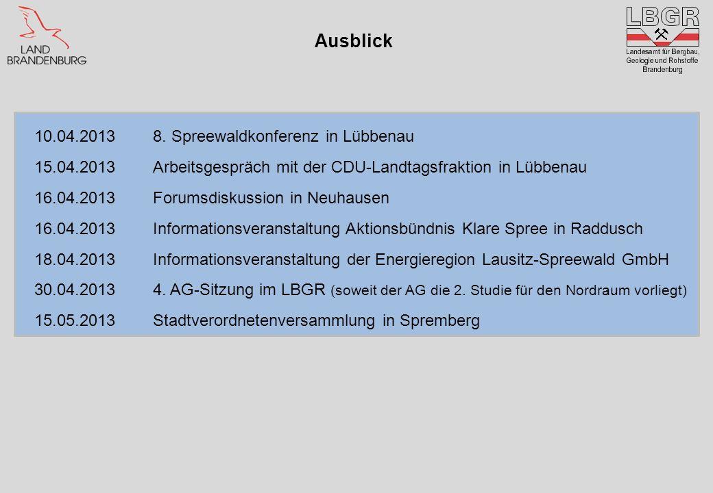 Ausblick 10.04.20138. Spreewaldkonferenz in Lübbenau 15.04.2013Arbeitsgespräch mit der CDU-Landtagsfraktion in Lübbenau 16.04.2013Forumsdiskussion in