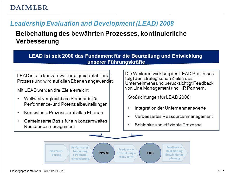 Einstiegspräsentation / GTAD / 12.11.201318 Leadership Evaluation and Development (LEAD) 2008 Mit LEAD werden drei Ziele erreicht: Weltweit vergleichb