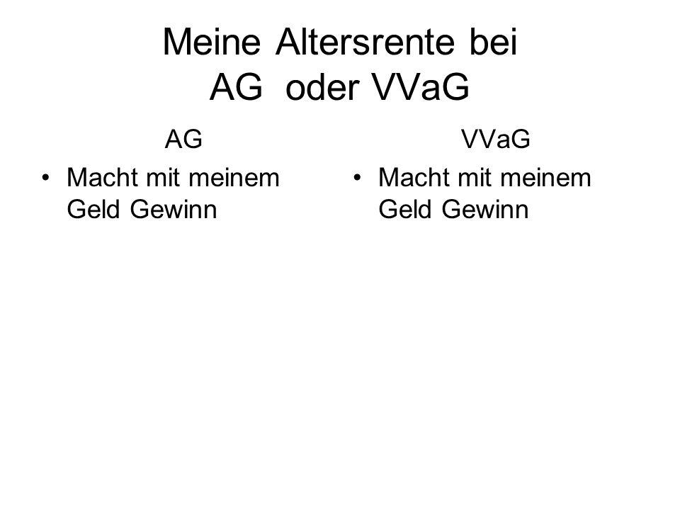 Meine Altersrente bei AG oder VVaG AG Macht mit meinem Geld Gewinn Der Aktionär giert nach Dividende VVaG Macht mit meinem Geld Gewinn