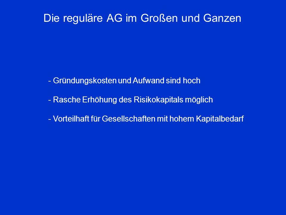 Die reguläre AG im Großen und Ganzen - Gründungskosten und Aufwand sind hoch - Rasche Erhöhung des Risikokapitals möglich - Vorteilhaft für Gesellscha