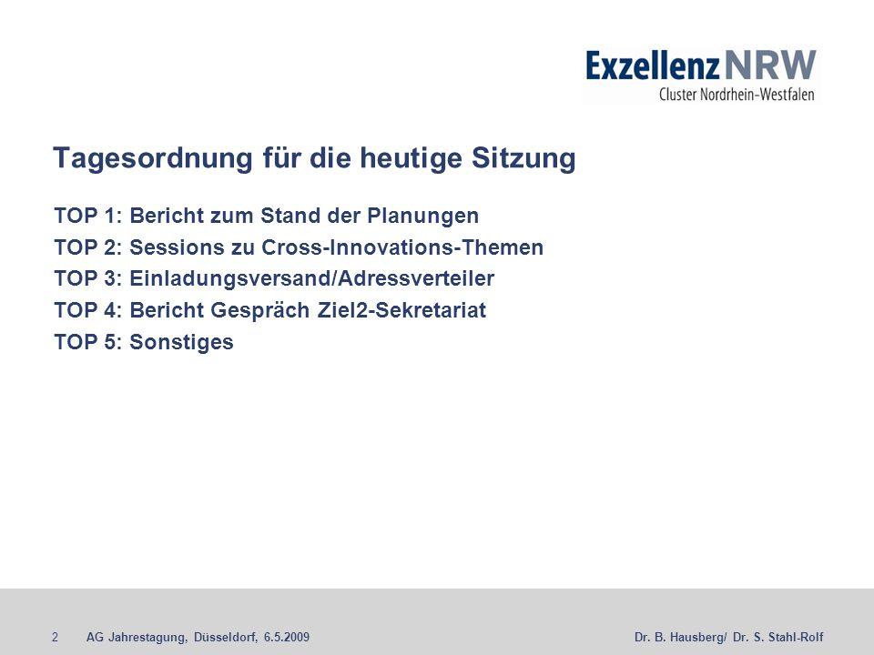 AG Jahrestagung, Düsseldorf, 6.5.20092Dr. B. Hausberg/ Dr. S. Stahl-Rolf Tagesordnung für die heutige Sitzung TOP 1: Bericht zum Stand der Planungen T