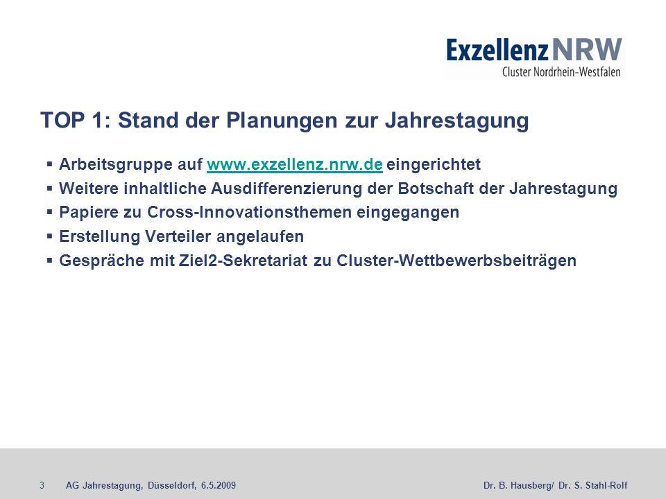 AG Jahrestagung, Düsseldorf, 6.5.20093Dr. B. Hausberg/ Dr. S. Stahl-Rolf TOP 1: Stand der Planungen zur Jahrestagung Arbeitsgruppe auf www.exzellenz.n
