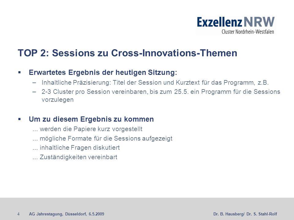 AG Jahrestagung, Düsseldorf, 6.5.20094Dr. B. Hausberg/ Dr. S. Stahl-Rolf TOP 2: Sessions zu Cross-Innovations-Themen Erwartetes Ergebnis der heutigen