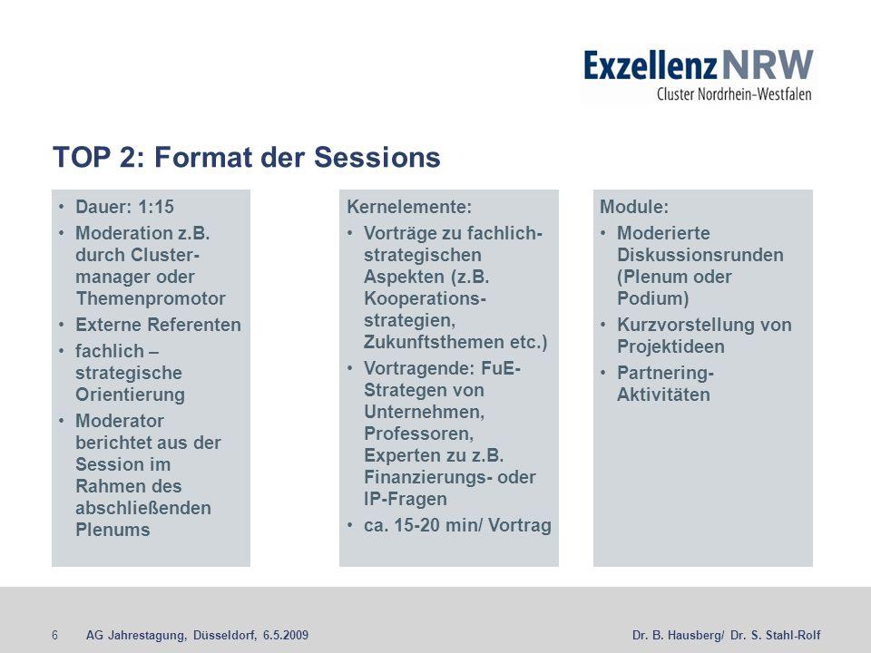 AG Jahrestagung, Düsseldorf, 6.5.20096Dr. B. Hausberg/ Dr. S. Stahl-Rolf TOP 2: Format der Sessions Dauer: 1:15 Moderation z.B. durch Cluster- manager