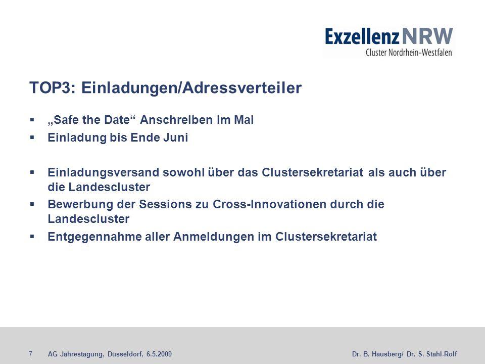 AG Jahrestagung, Düsseldorf, 6.5.20097Dr. B. Hausberg/ Dr. S. Stahl-Rolf TOP3: Einladungen/Adressverteiler Safe the Date Anschreiben im Mai Einladung