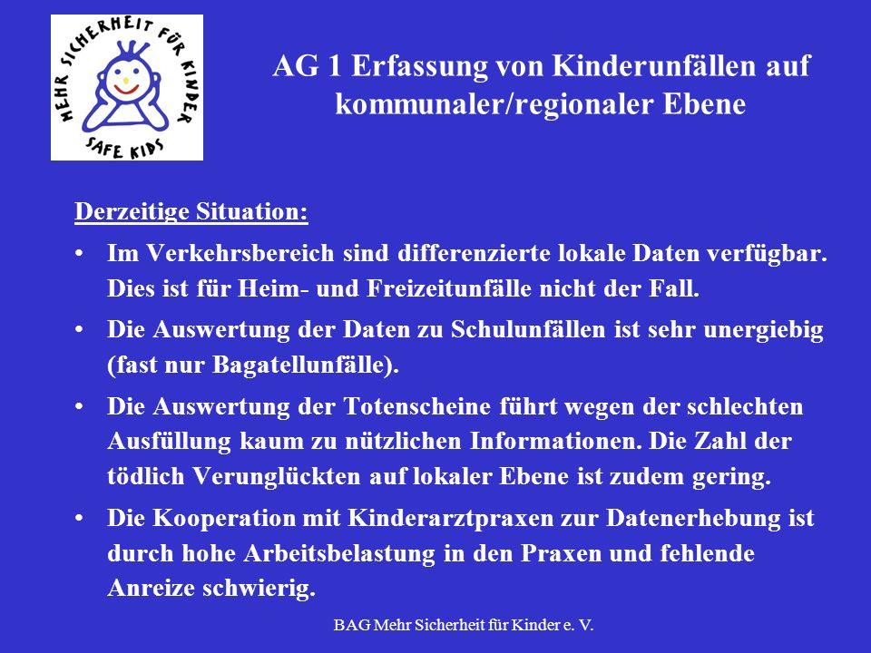 BAG Mehr Sicherheit für Kinder e. V. AG 1 Erfassung von Kinderunfällen auf kommunaler/regionaler Ebene Derzeitige Situation: Im Verkehrsbereich sind d