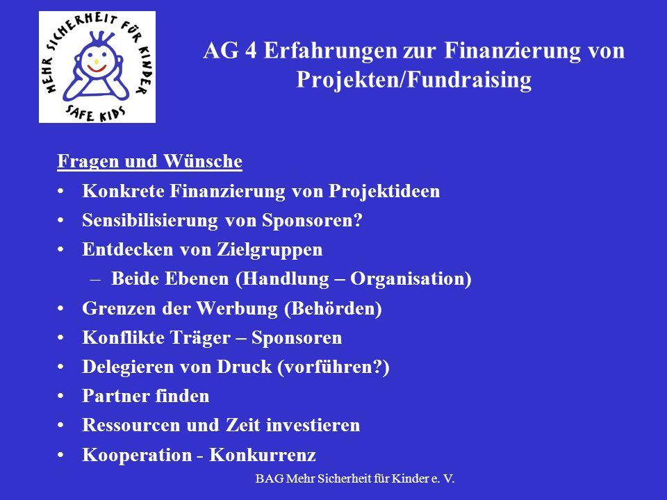 BAG Mehr Sicherheit für Kinder e. V. AG 4 Erfahrungen zur Finanzierung von Projekten/Fundraising Fragen und Wünsche Konkrete Finanzierung von Projekti