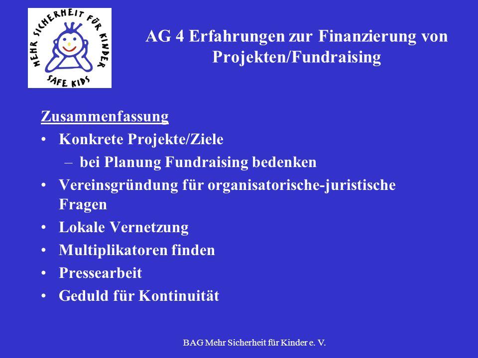 BAG Mehr Sicherheit für Kinder e. V. AG 4 Erfahrungen zur Finanzierung von Projekten/Fundraising Zusammenfassung Konkrete Projekte/Ziele –bei Planung