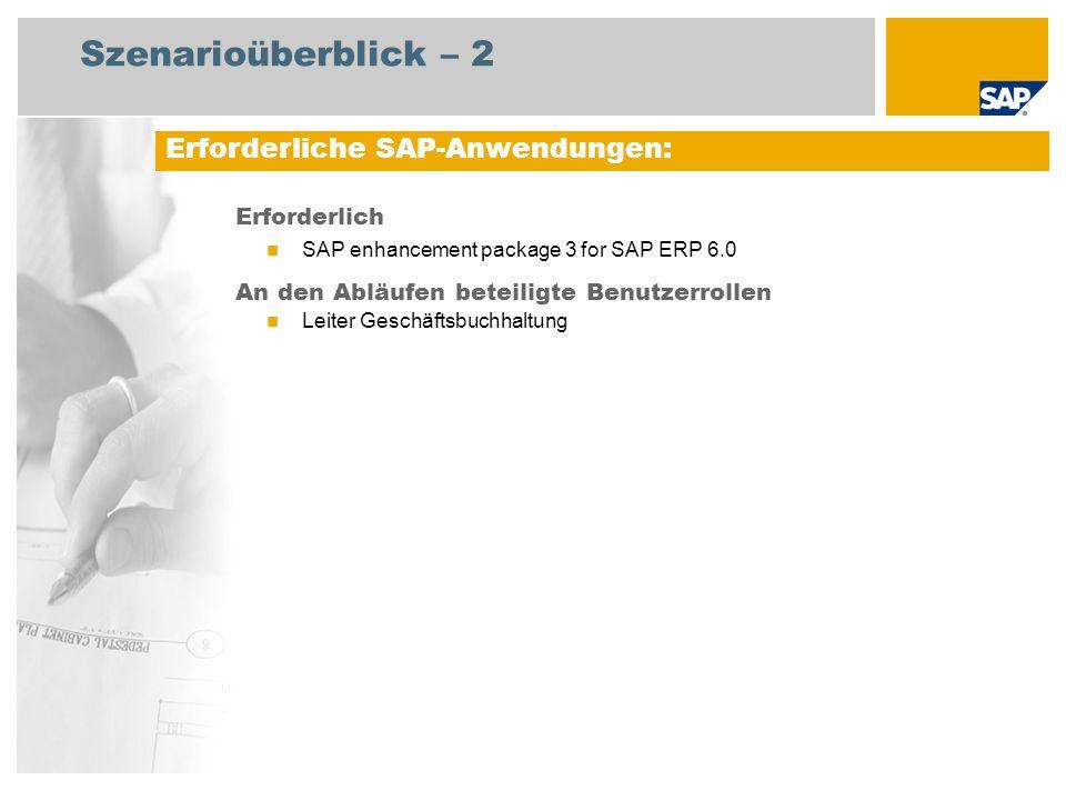 Szenarioüberblick – 2 Erforderlich SAP enhancement package 3 for SAP ERP 6.0 An den Abläufen beteiligte Benutzerrollen Leiter Geschäftsbuchhaltung Erf