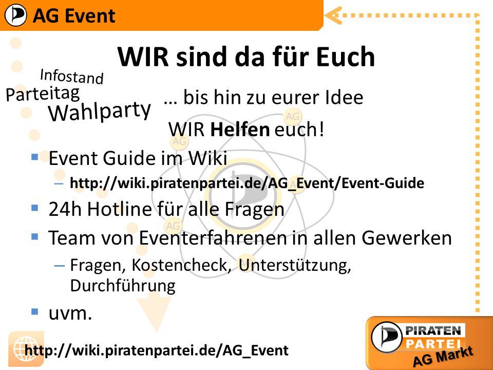 AG Event AG Markt http://wiki.piratenpartei.de/AG_Event WIR sind da für Euch WIR Helfen euch! Event Guide im Wiki –h–http://wiki.piratenpartei.de/AG_E