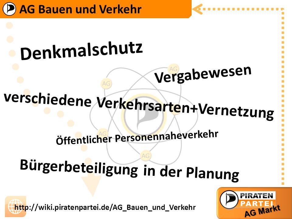 AG Bauen und Verkehr AG Markt http://wiki.piratenpartei.de/AG_Bauen_und_Verkehr D e n k m a l s c h u t z B ü r g e r b e t e i l i g u n g i n d e r
