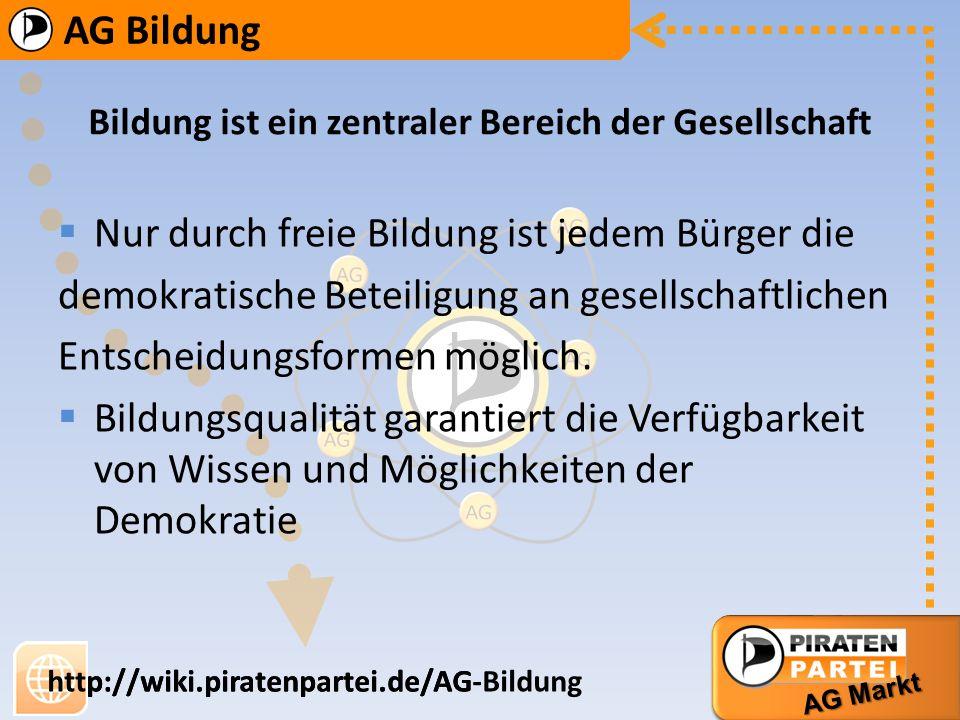 AG Bildung AG Markt http://wiki.piratenpartei.de/AG-Bildung AG Bildung AG Markt http://wiki.piratenpartei.de/AG Bildung ist ein zentraler Bereich der