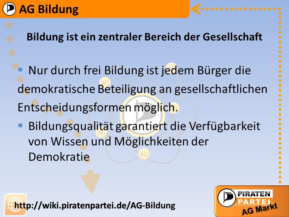 AG Bildung AG Markt http://wiki.piratenpartei.de/AG-Bildung AG Bildung AG Markt http://wiki.piratenpartei.de/AG *Elterngeld im Voucherprinzip, statt finanzieller Hilfen sinnvoll.