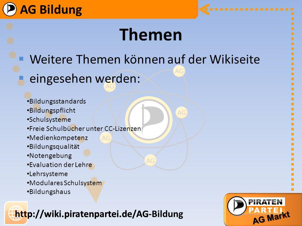 AG Bildung AG Markt http://wiki.piratenpartei.de/AG-Bildung AG Bildung AG Markt http://wiki.piratenpartei.de/AG Krippenplätze Berufstätigkeit und Kind