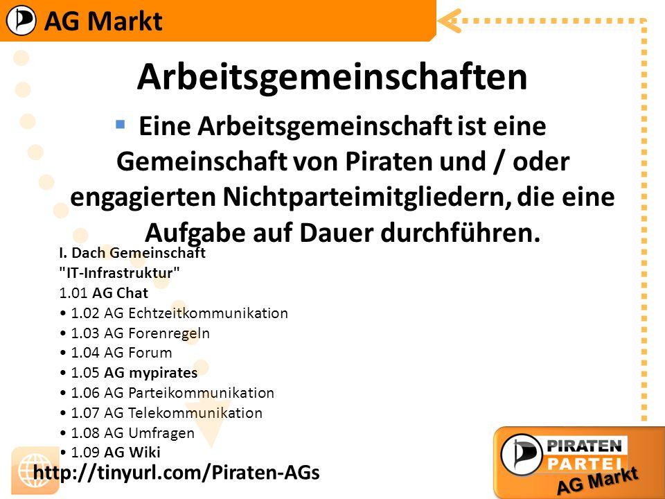 AG Markt http://tinyurl.com/Piraten-AGs II. Dach Arbeitsgemeinschaft