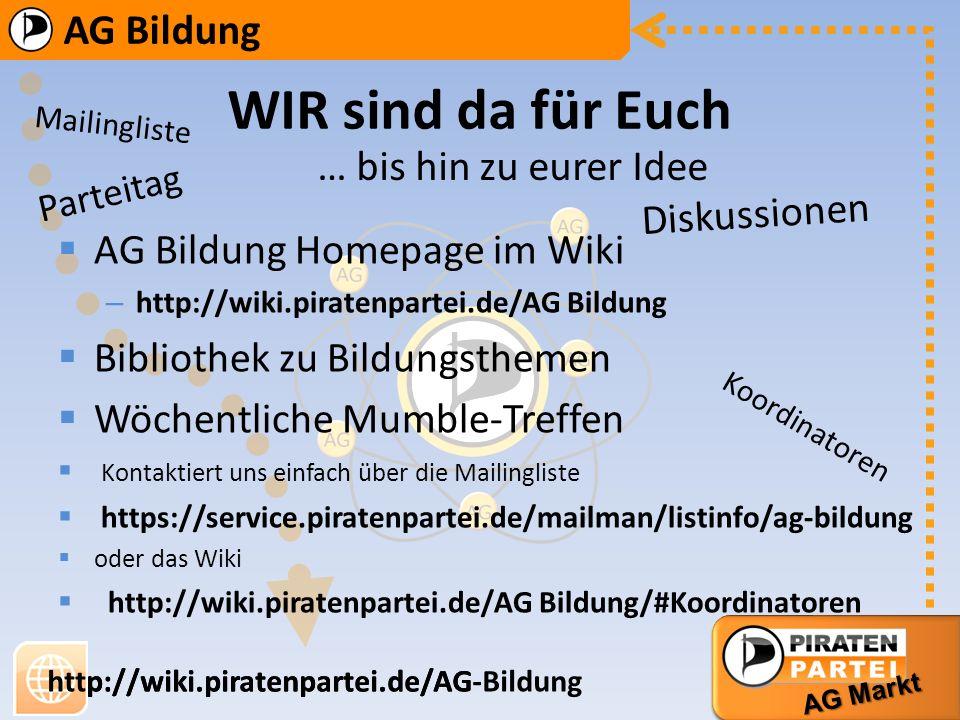 AG Bildung AG Markt http://wiki.piratenpartei.de/AG-Bildung AG Bildung AG Markt http://wiki.piratenpartei.de/AG WIR sind da für Euch AG Bildung Homepa