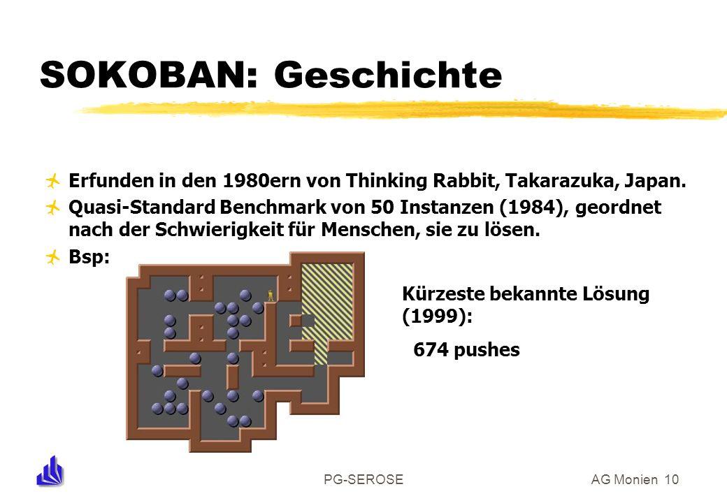 PG-SEROSEAG Monien 10 SOKOBAN: Geschichte Erfunden in den 1980ern von Thinking Rabbit, Takarazuka, Japan. Quasi-Standard Benchmark von 50 Instanzen (1