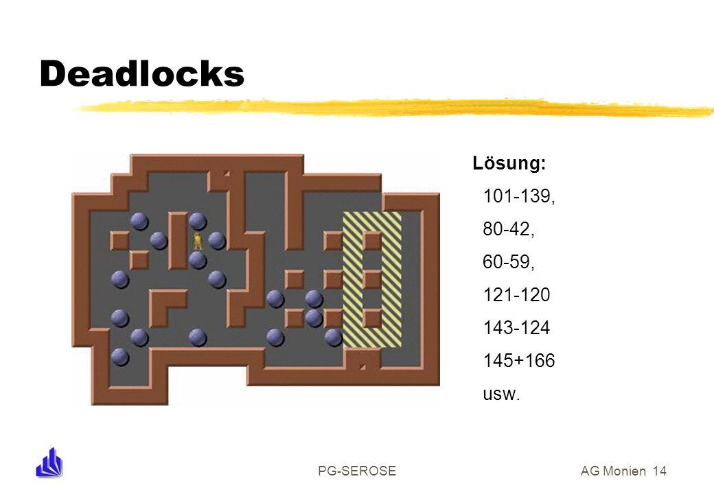 PG-SEROSEAG Monien 14 Deadlocks Lösung: 101-139, 80-42, 60-59, 121-120 143-124 145+166 usw.
