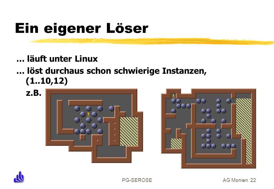 PG-SEROSEAG Monien 22 Ein eigener Löser … läuft unter Linux … löst durchaus schon schwierige Instanzen, (1..10,12) z.B.