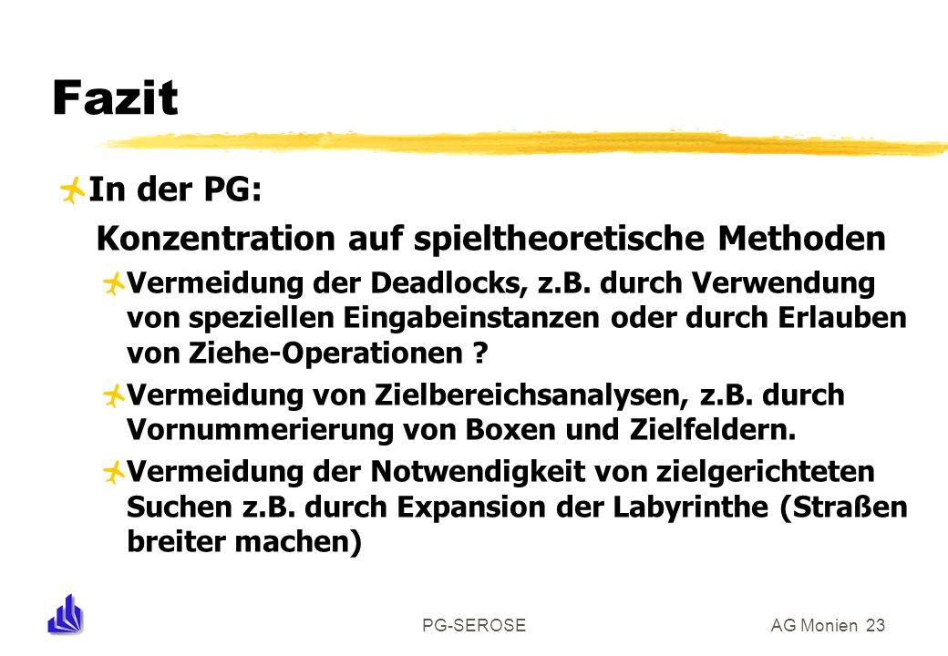 PG-SEROSEAG Monien 23 Fazit In der PG: Konzentration auf spieltheoretische Methoden Vermeidung der Deadlocks, z.B.