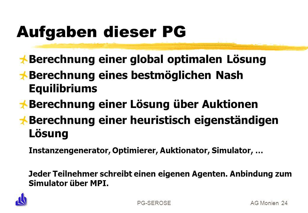 PG-SEROSEAG Monien 24 Aufgaben dieser PG Berechnung einer global optimalen Lösung Berechnung eines bestmöglichen Nash Equilibriums Berechnung einer Lö